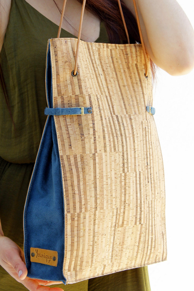 Natural striped cork and navy blue suede leather shoulder bag